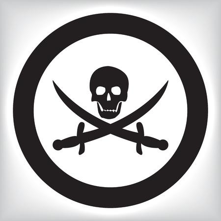vector skull danger sign: Pirate icon Illustration