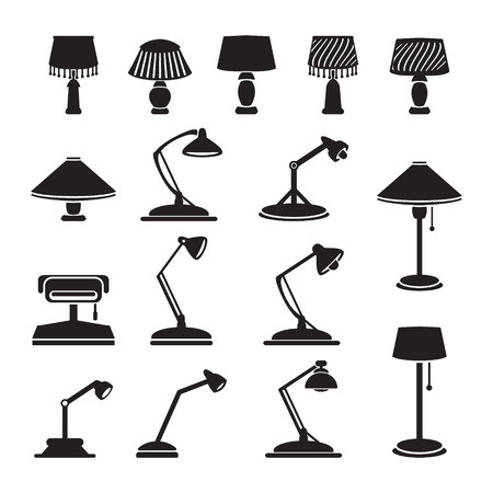 lamp silhouette: Vector lamps set