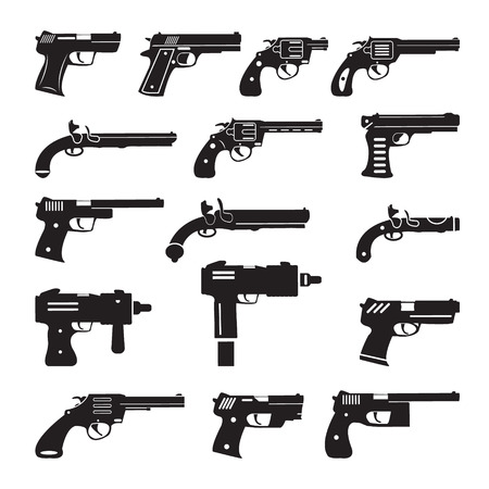 bullet icon: Set of vector guns, handguns and pistols