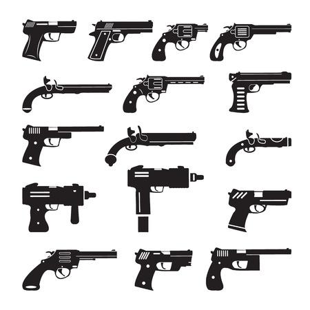Set von Vektor-Pistolen, Handfeuerwaffen und Pistolen Standard-Bild - 44686645