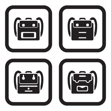 school icon: School bag icon in four variations