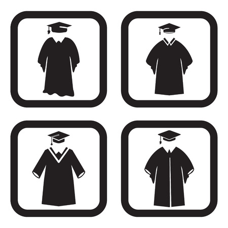 graduation gown: Graduation gown icon in four variations