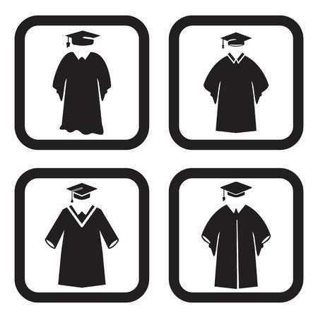 birrete de graduacion: Icono vestido de graduación en cuatro variaciones