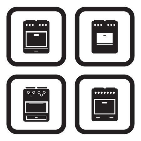 stove: Stove icon in four variations Illustration