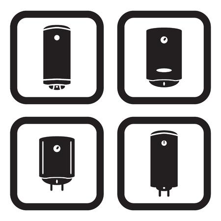 4 つのバリエーションで水の給湯器やボイラーのアイコン  イラスト・ベクター素材