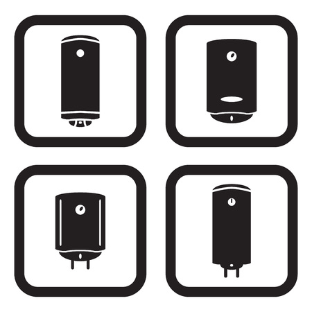 boiler: Water heater or boiler icon in four variations Illustration