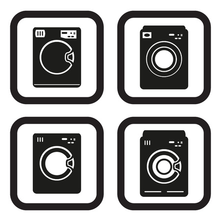 major household appliance: Washing machine icon in four variations