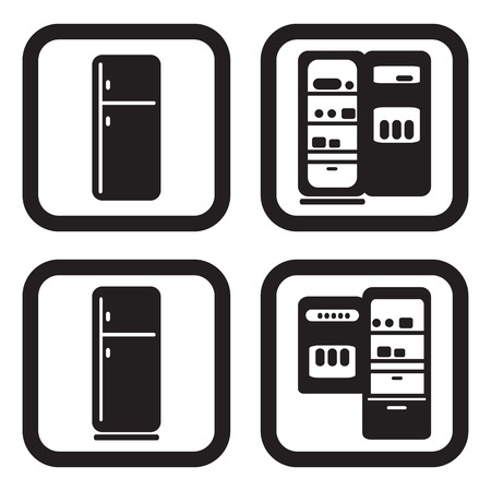 Fridge icon in four variations Imagens - 44686736