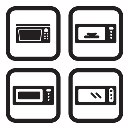 microwave: Microwave icon in four variations