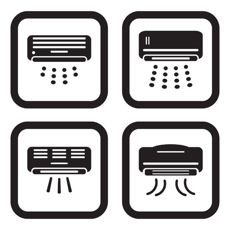 hot air: Air conditioner icon in four variations Illustration