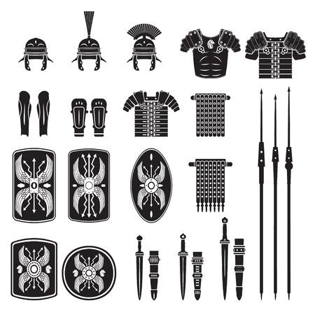 cascos romanos: Serie Warriors - ej�rcito romano del vector del equipo Vectores
