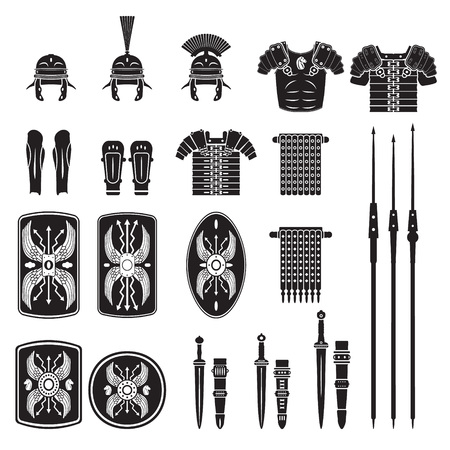 ancient warrior: Warriors series - Roman army equipment vector Illustration