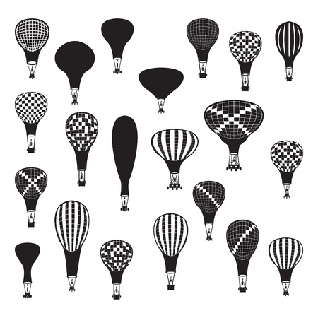 inflate: Vector hot air balloons set