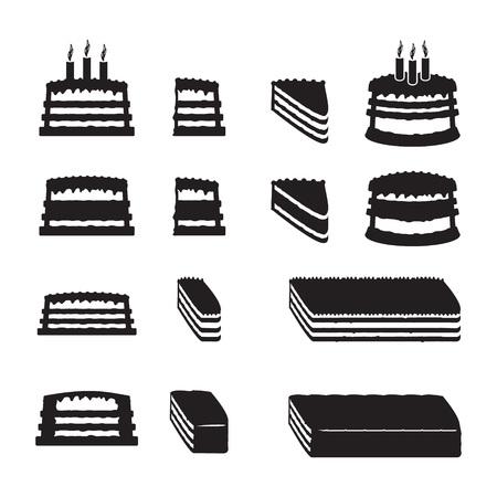 rebanada de pastel: Conjunto de tortas vector con rodajas Vectores