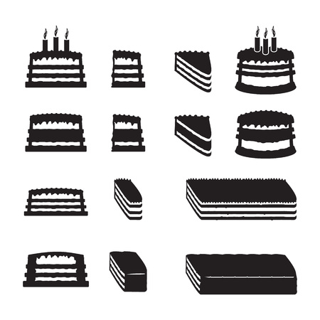 cake: Set of vector cakes with slices Illustration