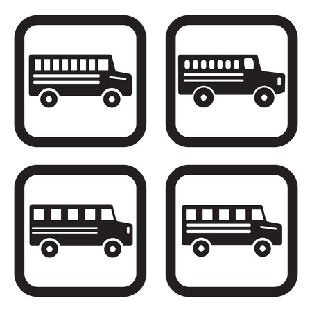 back view student: School bus icon in four variations