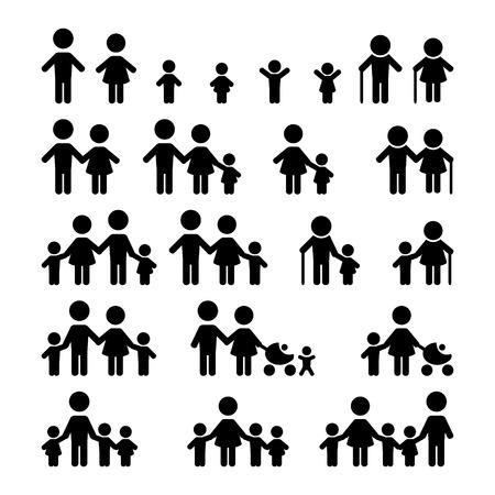 niños: Iconos de la familia fijados Vectores