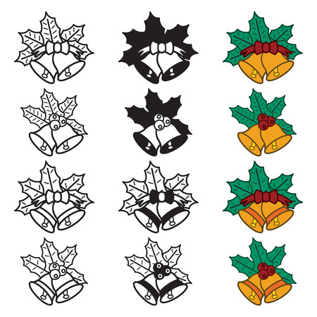 holly day: Christmas bells icon set. Colored and blackwhite. Vector eps10.
