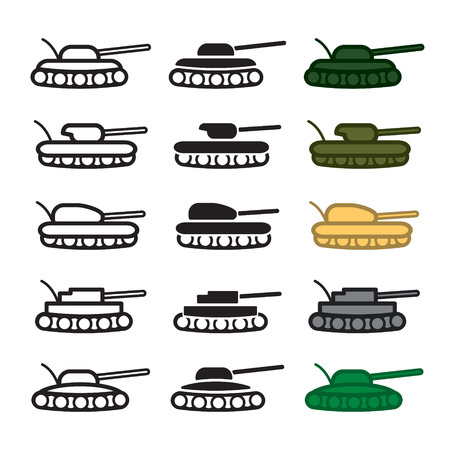 hostility: Tank icon set. Colored and blackwhite.