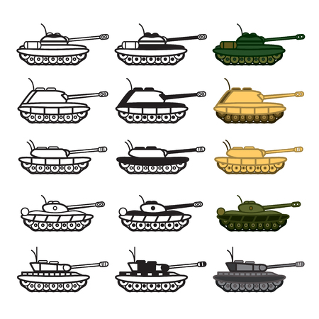 wartime: Tank icon set. Colored and blackwhite.