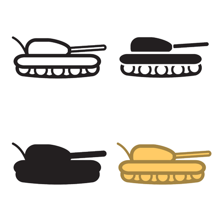 hostility: Tank icon in four variations. Colored and blackwhite. Vector eps10.