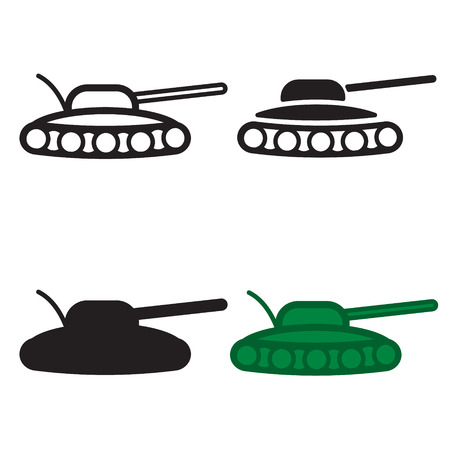 Tank icon in four variations. Colored and blackwhite.