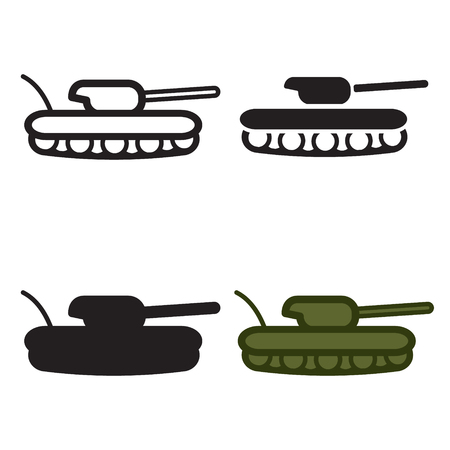 world war 2: Tank icon in four variations. Colored and blackwhite.