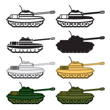 world war 2: Tank icon set. Colored and blackwhite.