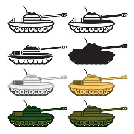 hostility: Tank icon set. Colored and blackwhite.