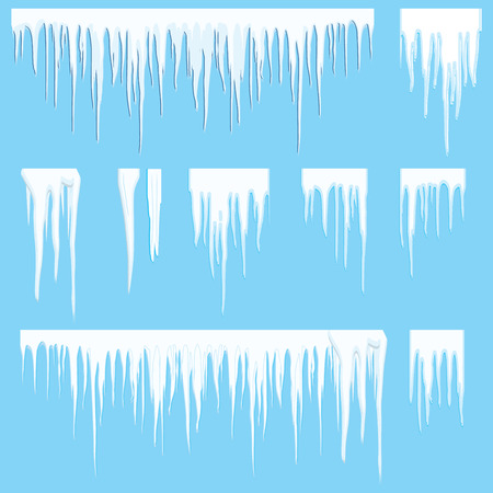 Icicles vector illustration set