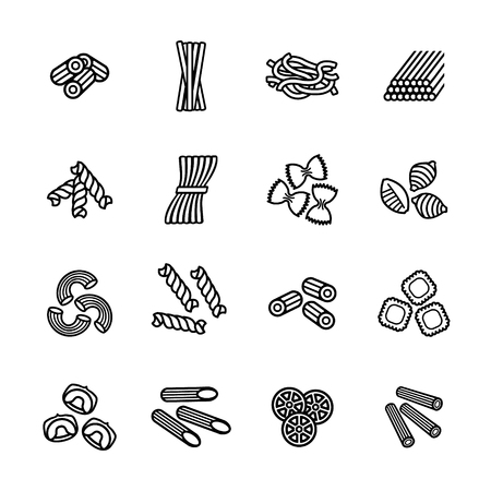 spaghetti dinner: Pasta types icon set. Vector eps 10.