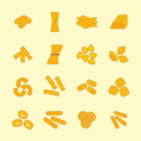 food illustration: Pasta types icon set. Vector eps 10.