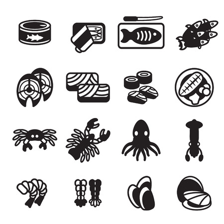 Seafood icon set. Vector eps 10.