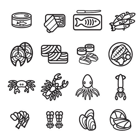 canned meat: Seafood icon set. Vector eps 10.