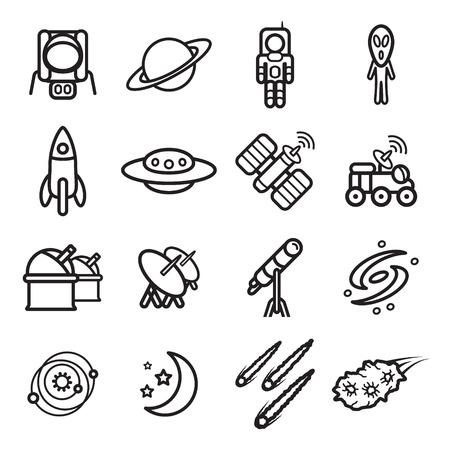 astronomie: Raum und Astronomie Symbole gesetzt. Vektor eps 10.