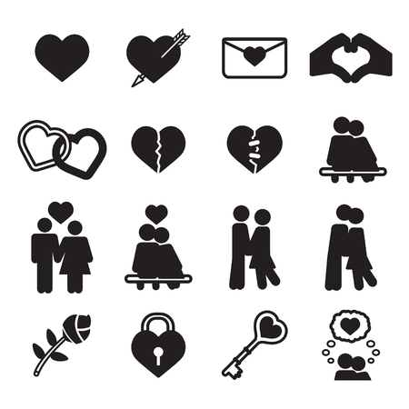love icon: Love icon set. Vector eps10. Illustration
