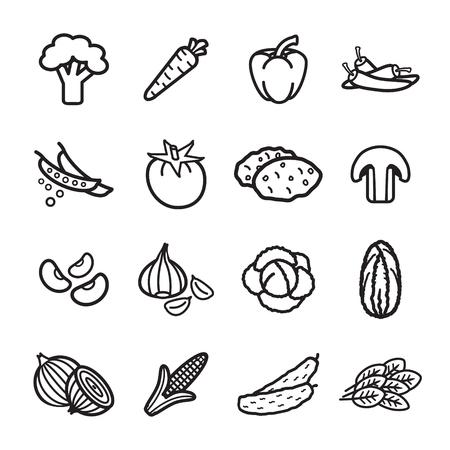 野菜アイコンを設定。ベクター eps 10。  イラスト・ベクター素材