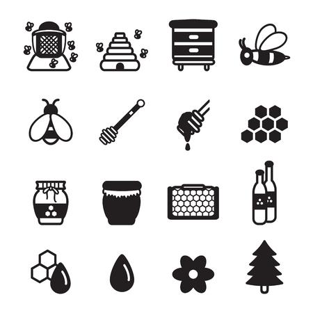 sugar spoon: Honey icons set. Vector eps 10. Illustration