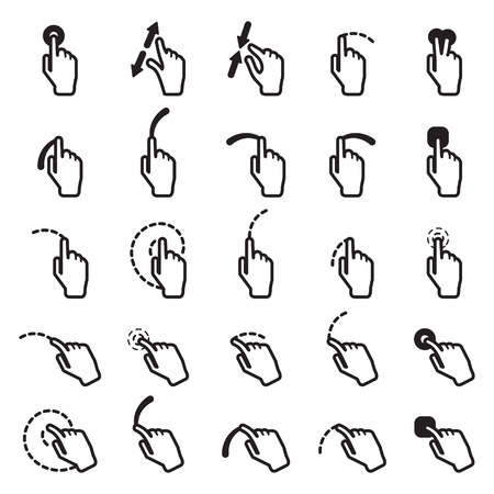 double click: Touch screen icon set. Vector eps10.