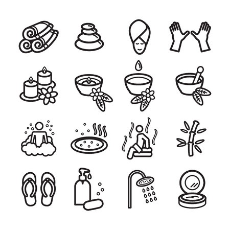 hair mask: Spa icons set. Vector eps 10.