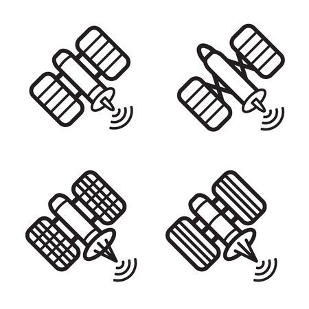 transponder: Satellite icon in four variations. Vector eps 10.