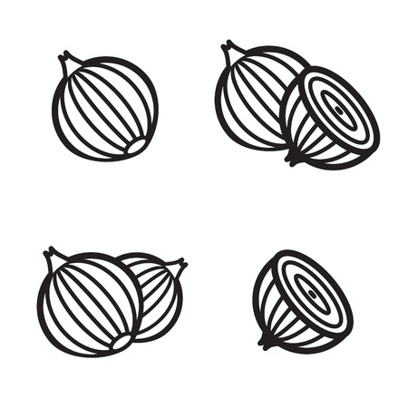 cebolla: icono de la cebolla en cuatro variaciones. ilustración vectorial eps 10.