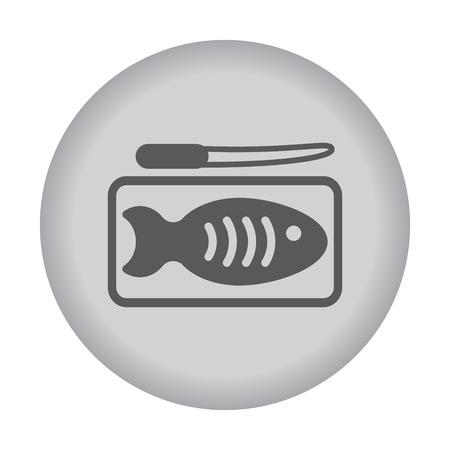 crucian: Fish dish icon. Vector eps 10.