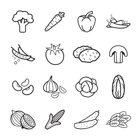 cabbage: Vegetables icons set.