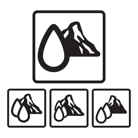 drop of water: Mountain spring water icon in four variations. Vector eps 10.