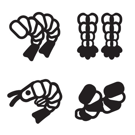 krill: Shrimp icon in four variations. Vector eps 10. Illustration