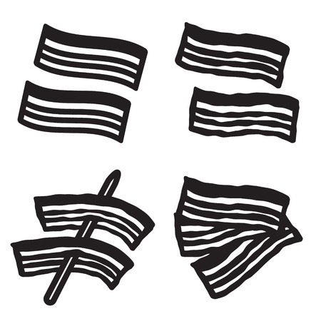 browned: Bacon icon in four variations. Vector eps 10.