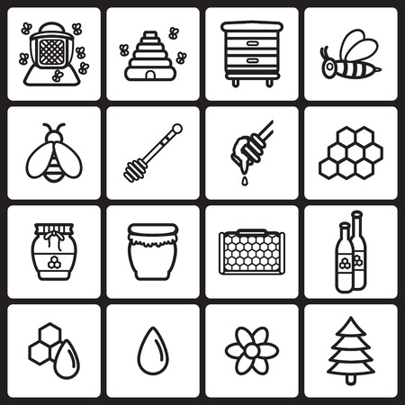 honeyed: Honey icons set.