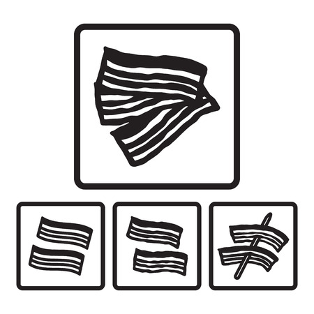 bacon strips: Bacon icon in four variations. Vector eps 10.