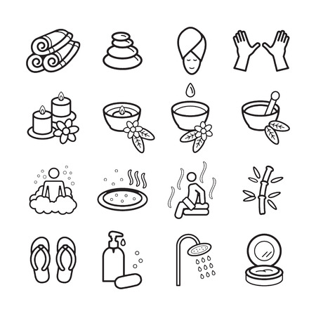 beauty icon: Spa icons set.